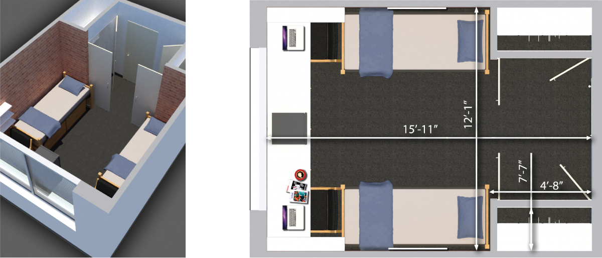 butler room plans showing a double room