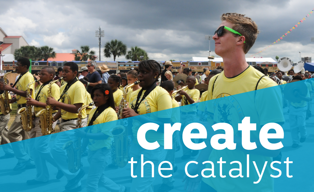 "students march in a mardi gras parade with a high school band. title reads ""create the catalyst"""