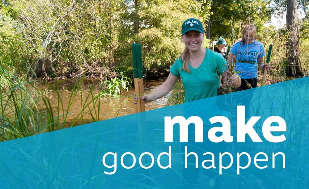 "students wade through a marsh. Title reads ""make good happen""."