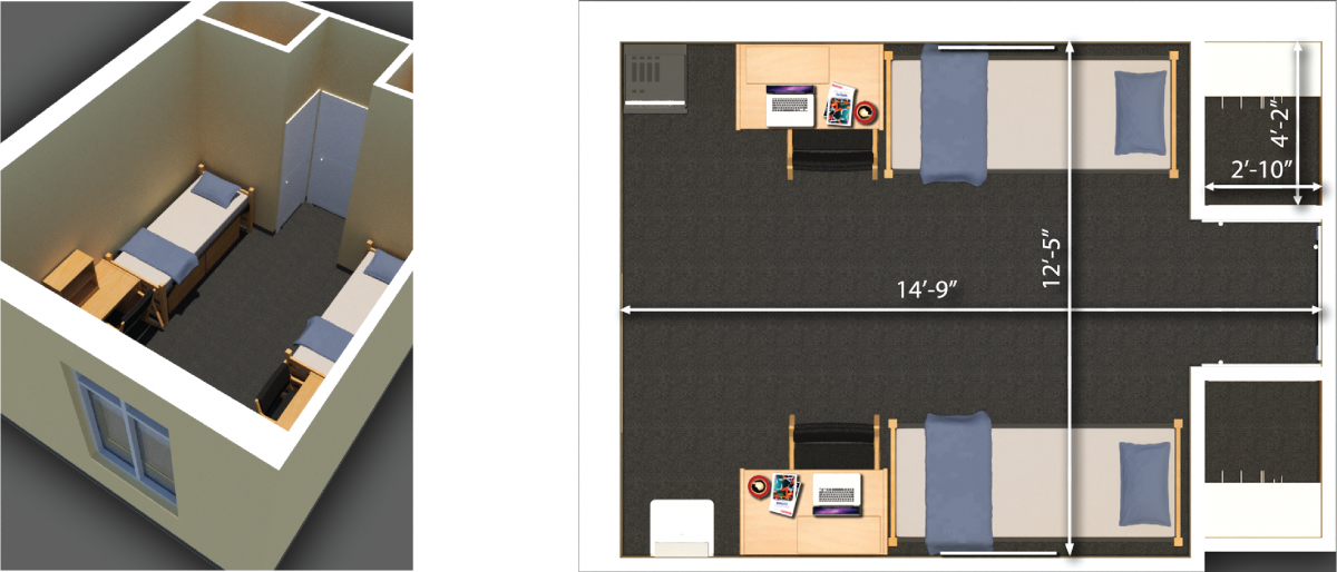 josephine louise floor plan showing a double room
