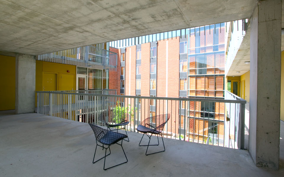 exterior study balcony overlooking wall residence hall