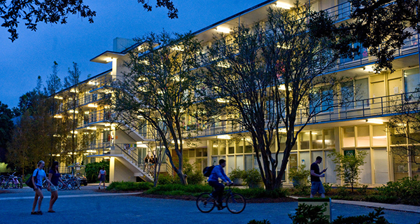 Irby Hall Exterior at nighttime